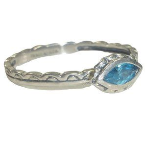 Silpada Sterling Silver Blue CZ Stack Ring Size 10